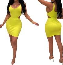 Gelb Ärmelloses, figurbetontes Kleid mit Ausschnitten