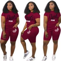 Camisa de impressão apertada ativa e Shorts