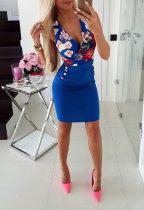 Vestido floral envuelto sin mangas sexy