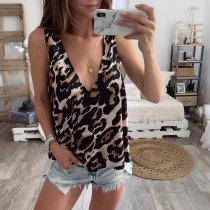 Sexy Leoparden-Tank mit V-Ausschnitt