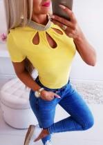 Sexy Cut Out Shirt mit Pailletten Ausschnitt