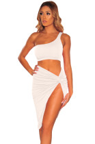 Sexy One Shoulder Crop Top and Irregular Skirt
