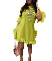 Lässige Rüschen Shirt Kleid