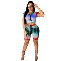 Sexy Batik Hoody Crop Top y pantalones cortos