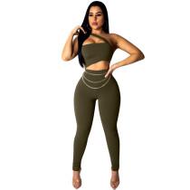 Grün sexy eine Schulter, figurbetonter Overall