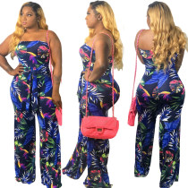 Print Floral Strapless Jumpsuit with Belt