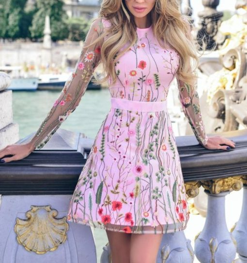 Pink Embroidery Skater Dress