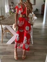 Short Sleeves Floral Wrap Long Dress