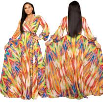 Robe longue à manches longues colorée