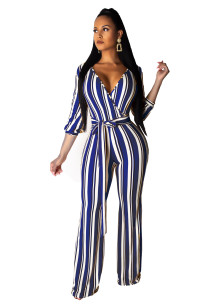 Colorful Stripped Wrapped Jumpsuit with Belt