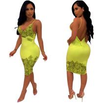 Seksi Backless Baskı Yeşil Sapanlar Bodycon Elbise