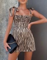 Gold und Schwarz Zebra Straps Mini Dress