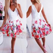 Vestito a pieghe senza maniche con scollo a V floreale bianco