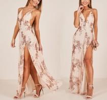 Pailletten Straps Split Abendkleid