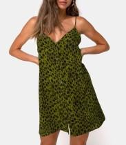 Grünes Leopard-Bügel-Minikleid