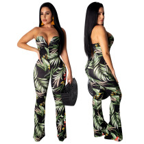Print Green Sexy Sweetheart Jumpsuit