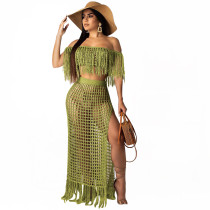 Hollow Out Two-Piece Strapless Fringe Set