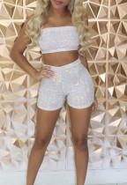 Shorts y top bandeau de lentejuelas sexy