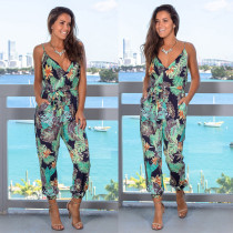 Print Green Casual Straps Jumpsuit