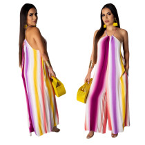Colorful Stripped Sexy Halter Loose Jumpsuit