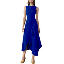 Elegante vestido largo sin mangas irregular