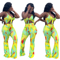 Sexy Cut Out Straps Colorful Jumpsuit