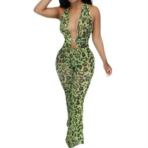 Stampa Leopard Sexy Plung Sleeveless Jumpsuit