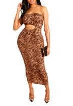 Sexy Cut Out Strapless Long Leopard Dress