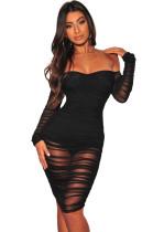 Sexy trägerlosen geraffte Mesh-Kleid