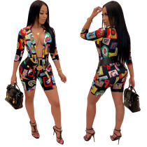 Sexy Print enge Shorts und Bluse