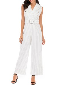 White Stripped Elegant Sleeveless Wrap Jumpsuit with Belt