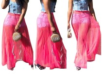 Pink Mesh Pleated Maxi Skirt
