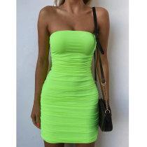 Grün sexy trägerlosen geraffte Minikleid