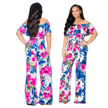 Off Shoulder Floral Jumpsuit with Belt