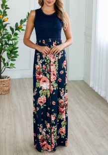 Sleeveless Floral Long Pocket Dress