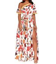 Vestido maxi floral con abertura en el hombro