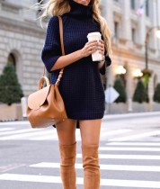 High Neck Loose Fitting Slit Long Sweater