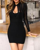 Black Cut Out Mini Dress with Mesh Sleeves