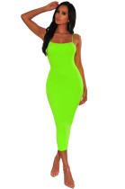 Sexy effen kleur bandjes midi-jurk