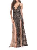 Deep-V Pailletten Straps Slit Abendkleid