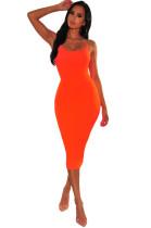 Sexy Plain Color Straps Midi Dress