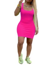 Einfarbig sexy kurvige Tank Kleid