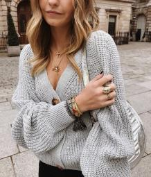V Neck Button Up Loose Sweater Coat