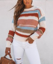 O-Neck Stripped Long Sleeve Sweater