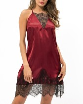 Red Silk Straps Sleep Dress with Lace Details