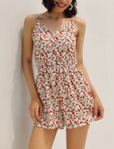 Chic Straps Flower Rompers