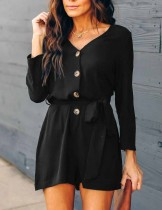 Button Up V-Neck Rompers with Full Sleeves
