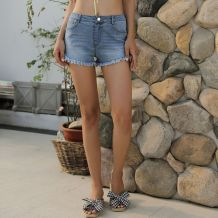 Casual Denim Shorts with Plush Trim