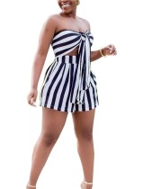 Sexy Strapless Stripped Rompers