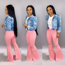 Stylish Pink Ripped Bell Jeans